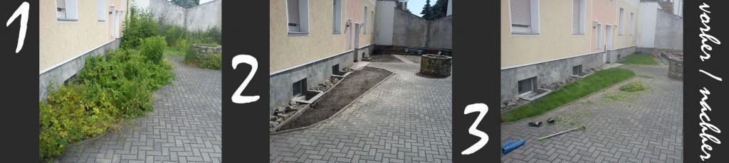Gartenarbeiten vorher / nachher